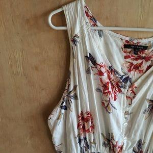 White floral button up Maxi dress w/ double slits